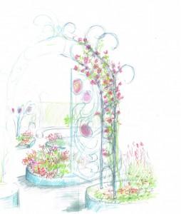 le jardin rouge 6 De bogen en het sculptuur krijgen een barokke uitstraling van krullen en rondingen. De half geopende poortdeur is een anamorfose die de bezoeker welkom heet. De begroeiing van de bogen bestaat o.a. uit klimrozen en wilde wingerd