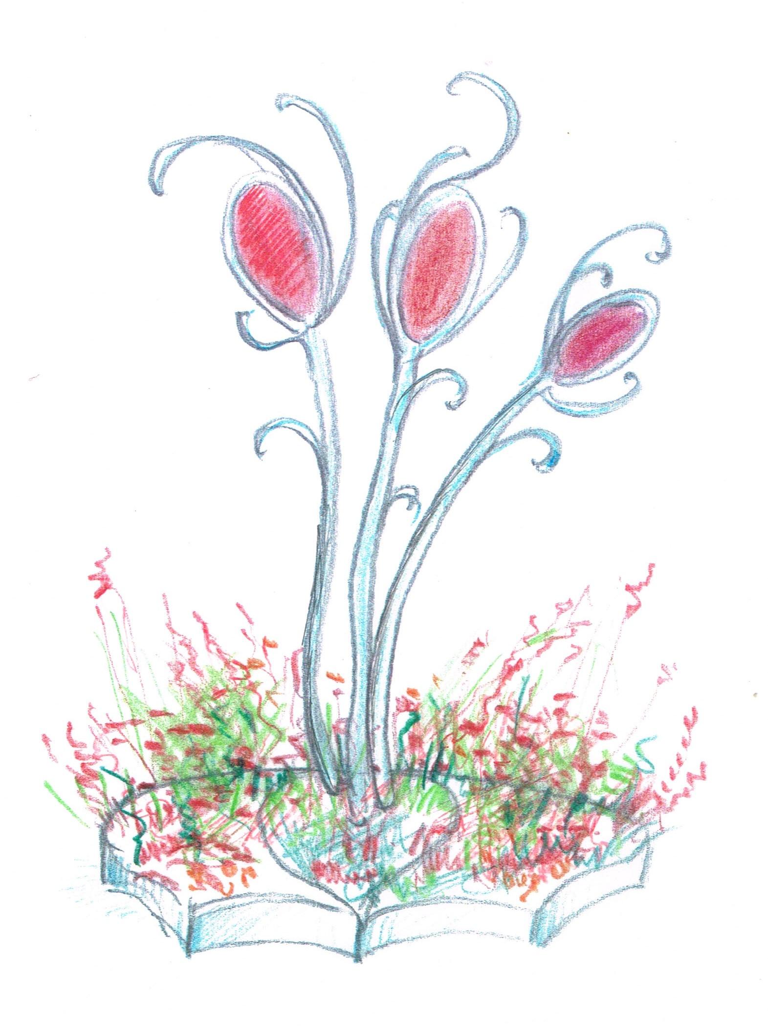 De centrale sculptuur met weelderige metalen ranken en een palet van rode tinten in plexiglas is een verwijzing naar het centrale motief in de drieluiken van Jeroen Bosch. De borders worden beplant met een grote diversiteit aan bloemen en kruiden, waaronder gaura's en salie